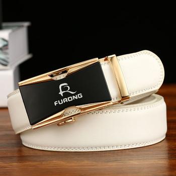 Fine Quality Alloy buckle Belts for Men Original Design Luxury White Belts Male Genuine Split Leather Strap Mens Designer Belts