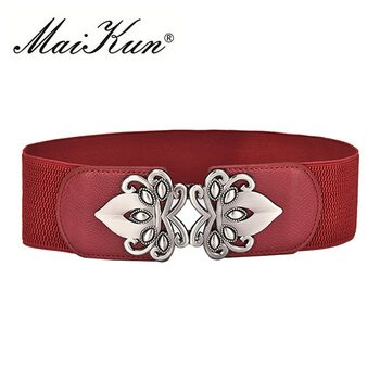 Maikun Vintage Design Belts For Women Diamond Buckle Wide Elastic Stretchy Waist Belt Female PU Leather Fashion Joker Belt