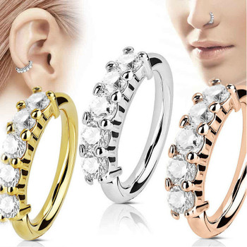 Fake Piercing Nose Ring Ear Rings Expander Hoop Rose Gold Silver Cz Tragus Cartilage Earrings Nostril Body Jewelry