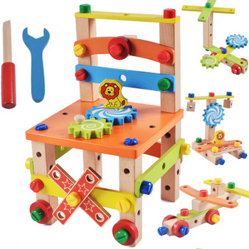 DIY Wooden Disassembly Chair Tool Assembly Of Nuts Chair Children's Puzzle Toys Wooden Block Toys Gift for Children 2 Models