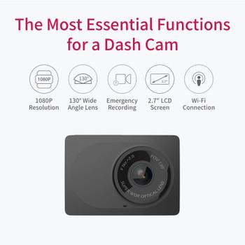YI Compact Dash Camera 1080p Full HD Car Dashboard Wifi Camera with 2.7 inch LCD Screen 130 WDR Lens G-Sensor Night Vision