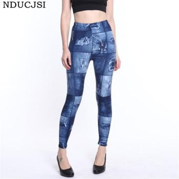NDUCJSI Faux Denim Jeans Legging Sexy Printed Legging Summer Women Leggings Casual High Waist Pants Pencil Pants Free size