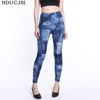 NDUCJSI Faux Denim Jeans Legging Sexy Printed Legging Summer Women Leggings Casual High Waist Pants Pencil Pants Free size 1