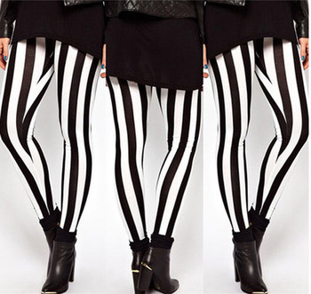 2017 New Hot Plus Size Women Casual Black White Striped Wide Elastic Stripes Stretch Leggings Long Trousers HOT