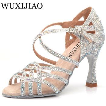 WUXIJIAO Silver Blue Rhinestone Latin Dance Shoes Women Salas Ballroom Shoes Pearl High Heel 9cm Waltz Software Shoes Hot Sale