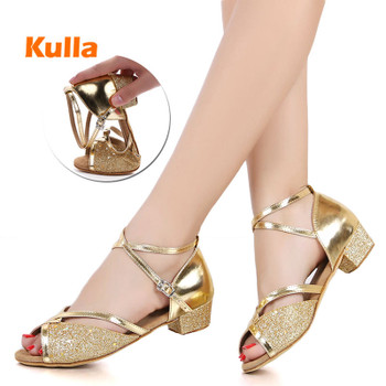 Children's Kids Latin Dance Shoes Women Ballroom Tango Latin Salsa Dancing Shoes Girl's Silver Gold Sequin Low Heels Dance Shoes 1