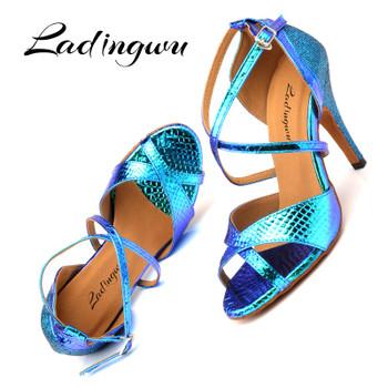 Ladingwu Latin Dance Shoes Women Ballroom Dance Shoes For Women Laser PU and Glitter Blue Gold Silver Dance Heels Sandals Women 1