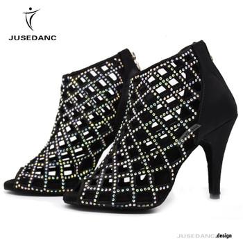 Jazz Sneakers Kizomba Shoes Dance Shoes Diamond High Heel Dance Shoes With Rhinestone Latino Dance Shoes JuseDanc