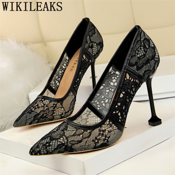 2019 designer pointed toe lace shoes woman high heels wedding shoes italian euros luxury brand ankle strap valentine shoes women