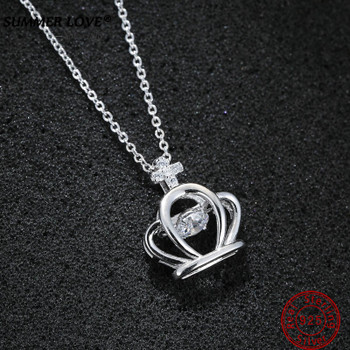 Real 925 Sterling Silver Crown Necklace Pendants Long Chain Luxury Crystal Necklace Gift for Women Wedding bijoux