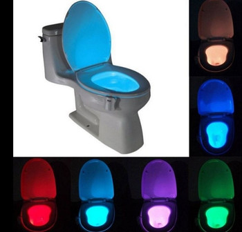 Motion Sensor Toilet Nightlight LED Body Motion Activated On/Off Seat Sensor Lamp 8 Color PIR Toilet Night Light lamp