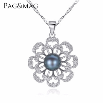 PAG&MAG Brand Flower Pearl 925 Sterling Silver Necklaces & Pendants Cubic Zirconia Women Silver Pendant Necklace Jewelry Gift