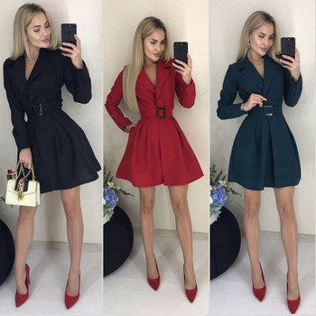 Women Casual Belt a Line Party Dress Ladies Long Sleeve v Neck Sexy Dress Office Work Elegant 2019 Vintage Winter Vestidos