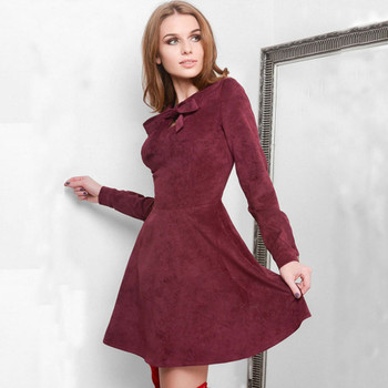 Solid Velvet Long Sleeve Bow A-line Dress Women Casual Slim Above-knee Dresses Autumn Winter Ladies Elegant Party Dress Vestidos