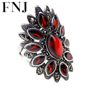 FNJ 925 Silver Flower Ring MARCASITE New Fashion Red Stone Original S925 Sterling Silver Rings for Women Jewelry Adjustable Size