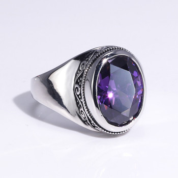 Real 925 Sterling Silver Rings For Women With Zircon Stone Amethyst Ruby Garnet Vintage Thai Silver Flower Engraved Jewelry