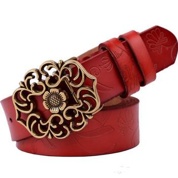 Women Fashion Genuine Leather Belt Cowskin Retro Print Belts Vintage Floral Alloy Slide Buckle Elegant Women Belt
