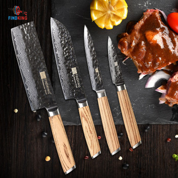 FINDKING zebra wooden handle damascus knives set 4 pcs 6.5 inch chef 7 inch santoku 5inch utility 3inch fruit knife 67 layers
