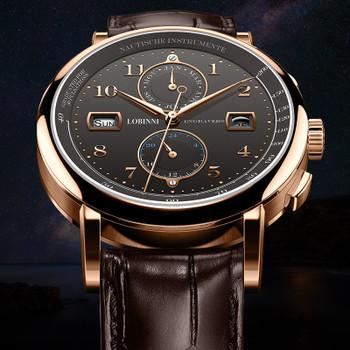 LOBINNI Business Watch Top Brand Luxury Fashion Man Leather Waterproof 50M Male Mechanical Wristwatch with Date Display Watches