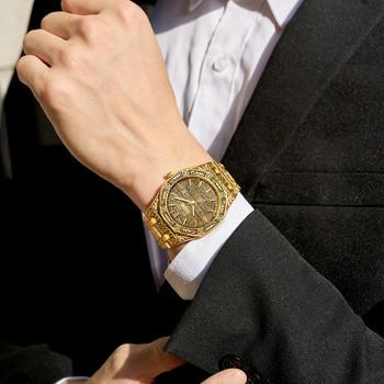ONOLA vintage carved watch man waterproof Original steel band wristwatch fashion classic designer luxury brand golden mens watch