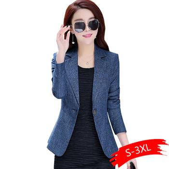 2020 New Spring Autumn Plus Size 3XL Womens Business Suits One Button Office Female Blazers Jackets Short Slim Blazer Women Suit