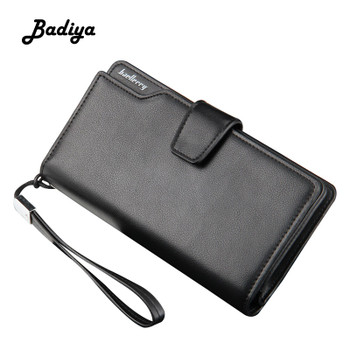 Vintage Leather Men's Wallet Baellerry Brand Long Multi-card Position Card Holder Zipper Cellphone Bag Portable Male Clutch Bag