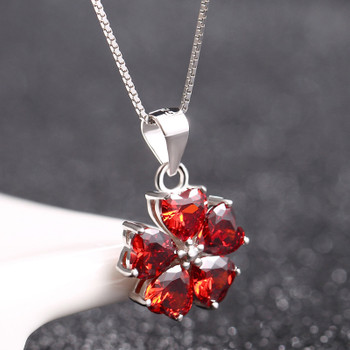 925 Sterling Silver Necklace Ruby Crystal Pendant Silver Chain Jewelry Accessories