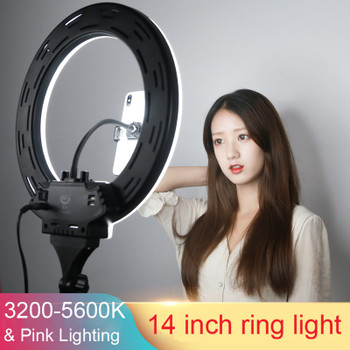 """Photo Studio 14"""" 18"""" 20"""" Ring Light 3200-5600K Stepless adjusted Warm& Cold Lighting Photographic Selfie Light with Phone Holder"""