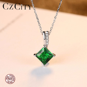 CZCITY Charm Chain Necklace Emerald Green Cubic Zirconia Popular Jewelry 925 Sterling Silver Pendant Necklace for Women Gift