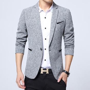 New Spring Autumn thin Smart Casual Men Blazer Cotton Slim England Suit Blaser Masculino Male Jacket Blazer Men Size M-5XL