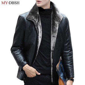 2019 Winter Thicken Leather Coat Men Faux Fur Warm Jackets and Coat Jaqueta de Couro Motorcycle Men's Fashion Fur Leather Jacket