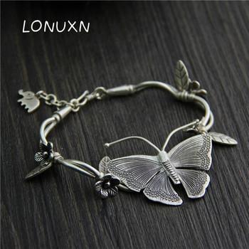 925 Sterling silver Multilayer Flowers Pendant Bracelets&Bangles Fashion Women Elephant Butterfly Charm Bracelet Jewelry gift