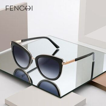 FENCHI White Cat Eye Women Sunglasses High Quality Black Transparent Female Sun Glasses Oculos De Sol Feminino zonnebril dames