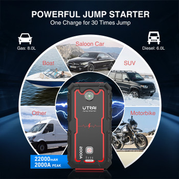 Car Jump Starter Portable Emergency Charger Lithium Ion Battery 22000mAh Power Bank Car Booster Starting Device Waterproof