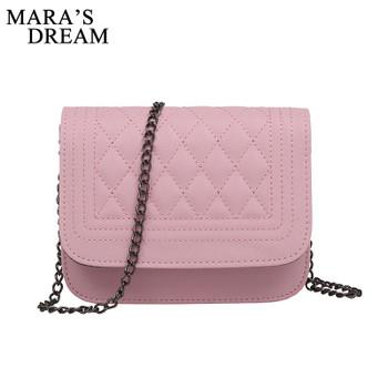 Mara's Dream 2019 PU Leather Women Messenger Bag Plaid Women Bag Crossbody Bag Chain Trendy Candy Color Small Shopping Handbag