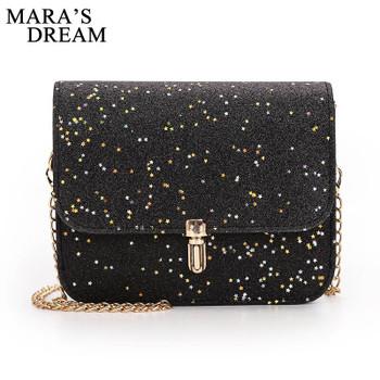 Mara's Dream Fashion Women Satchel Shoulder Bag Chain Sequin Hsap Flap Small Crossbody Handbags PU Leather Messenger Bags