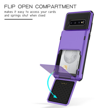 LCHULLE Flip Cover 5 Card Slots Cover Cases for Samsung S8 S9 S10 Note 9 10 Plus 5G S10e Credit Pockets Absorption Hard Coque
