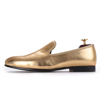 Piergitar 2019 NEW Fashion Men Flats Shoes HandMade Shiny Gold and Silver party and wedding men dress loafers Big Size Mocassins