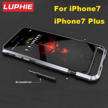 Luphie Ultra Thin Aviation Aluminum Bumper For iPhone 7 8 CNC Prismatic Shape Frame Metal Button Cover for iPhone7 plus Bumper