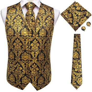 Hi-Tie Men's Classic Waistcoat Vest for Men 4PC Hanky+cufflinks +Tie Luxury Paisley Red Blue Gold Waistcoat suit vest Set Silk