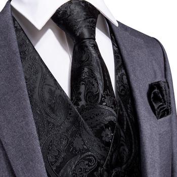 DiBanGu Black Paisley Fashion Wedding Men 100% Silk Waistcoat Vest Ties Pocket Square Cufflinks Set for Suit Tuxedo MJTZ-109