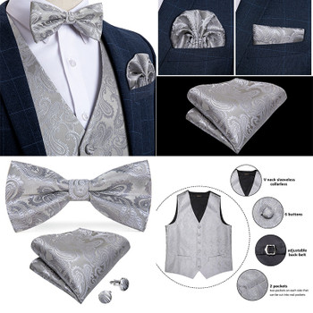 Men's Vest Navy Blue Paisley Silk Wedding Vest For Men Bowtie Hanky Cufflink Cravat Set for Suit Tuxedo DiBanGu New Designer