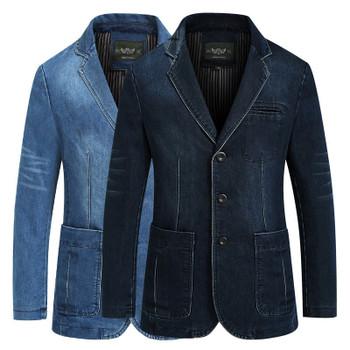 New Mens Denim Blazer Men Fashion Cotton Vintage Suit Jacket 4XL Male Blue Coat Denim Jacket men slim fat Jeans Blazers CY2182