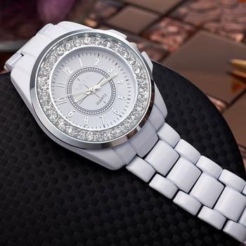 Fashion White Watches Women Crystal Watches Imitation Ceramic Band Quartz Watches Fashion Women Wristatches reloj mujer hodinky