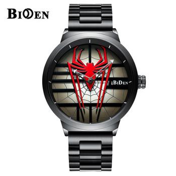 2020 New BIDEN Fashion Men's Watch Men's Personality Spider-Man Watch Steel Band Waterproof Quartz Watch Relogio Masculino