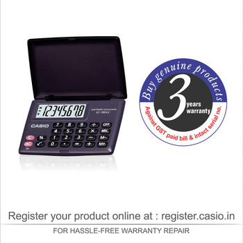 Casio LC-160LV-BK Portable Calculator with Flap Cover