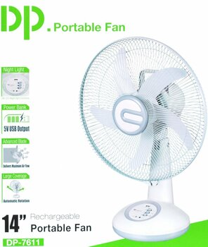 Bulfyss DP 7611 ABS 14-inch Blade Rechargeable Table Fan AC DC with LED Light, 5-8 Hour Battery Backup(White)