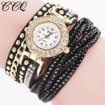 CCQ Brand Women Crystal Rhinestone Bracelet Watch Luxury Fashion Ladies Quartz Wristwatches Relogio Feminino