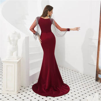 Scoop Illusion Long Sleeves Mermaid Prom Dresses Beading Slim Fishtail Women Fashion Party Gowns Evening Dress Custom