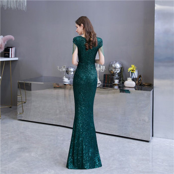 Dark Green Bling Bling Mermaid Slim Prom Dresses Sequins Beading Sexy Fishtail Women Evening Party Gowns Elegant Banquet Dress